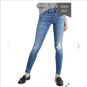 Madewell high waisted distressed skinny jeans
